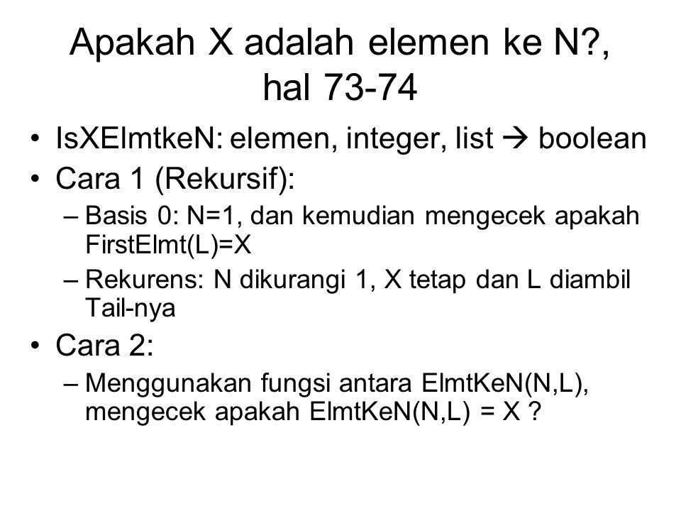 Apakah X adalah elemen ke N?, hal 73-74 IsXElmtkeN: elemen, integer, list  boolean Cara 1 (Rekursif): –Basis 0: N=1, dan kemudian mengecek apakah Fir