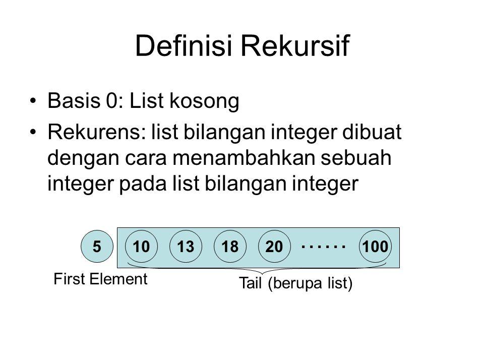 …… Definisi Rekursif Basis 0: List kosong Rekurens: list bilangan integer dibuat dengan cara menambahkan sebuah integer pada list bilangan integer 510