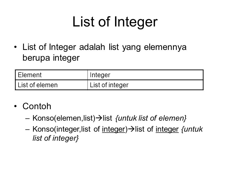 List of Integer List of Integer adalah list yang elemennya berupa integer ElementInteger List of elemenList of integer Contoh –Konso(elemen,list)  li