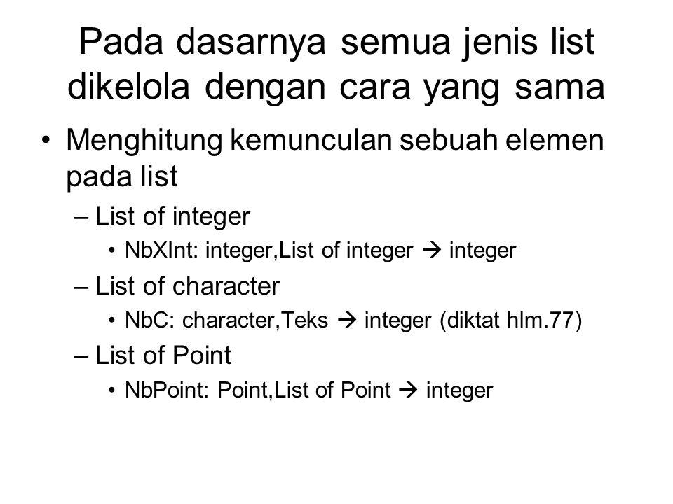 Pada dasarnya semua jenis list dikelola dengan cara yang sama Menghitung kemunculan sebuah elemen pada list –List of integer NbXInt: integer,List of i