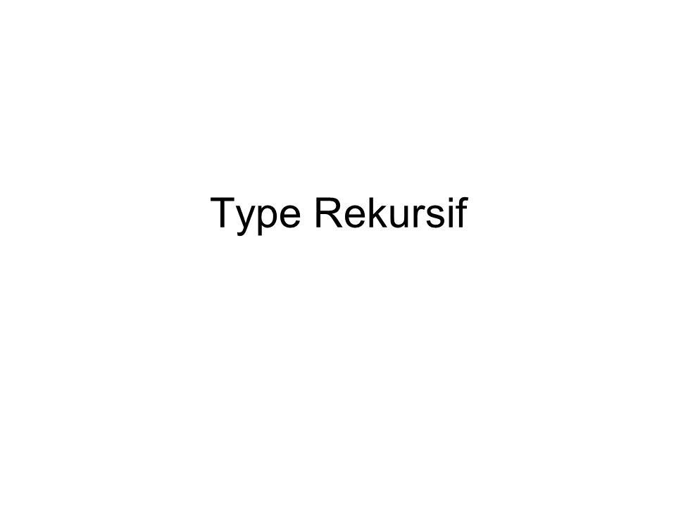 Type rekursif : –Jika teks yang mendefinisikan tipe mengandung referensi terhadap diri sendiri, maka disebut tipe rekursif.