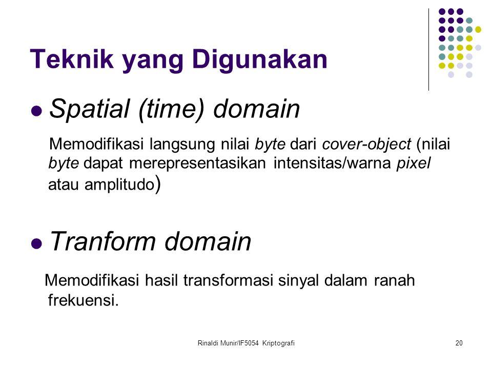 Rinaldi Munir/IF5054 Kriptografi20 Teknik yang Digunakan Spatial (time) domain Memodifikasi langsung nilai byte dari cover-object (nilai byte dapat me