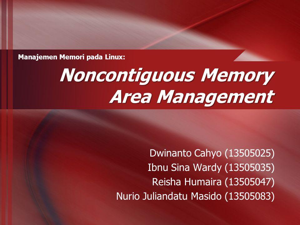 Memory Management Penggunaan RAM oleh kernel  Untuk menyimpan kode  Untuk menyimpan struktur data statis Memori dinamis  Digunakan oleh kernel  Digunakan oleh proses Teknik manajemen memori oleh kernel  Area memori kontigu  Area memori non-kontigu