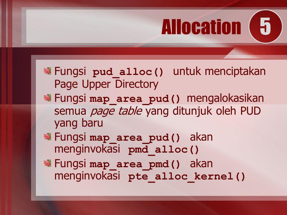 Fungsi pud_alloc() untuk menciptakan Page Upper Directory Fungsi map_area_pud() mengalokasikan semua page table yang ditunjuk oleh PUD yang baru Fungsi map_area_pud() akan menginvokasi pmd_alloc() Fungsi map_area_pmd() akan menginvokasi pte_alloc_kernel() Allocation 5