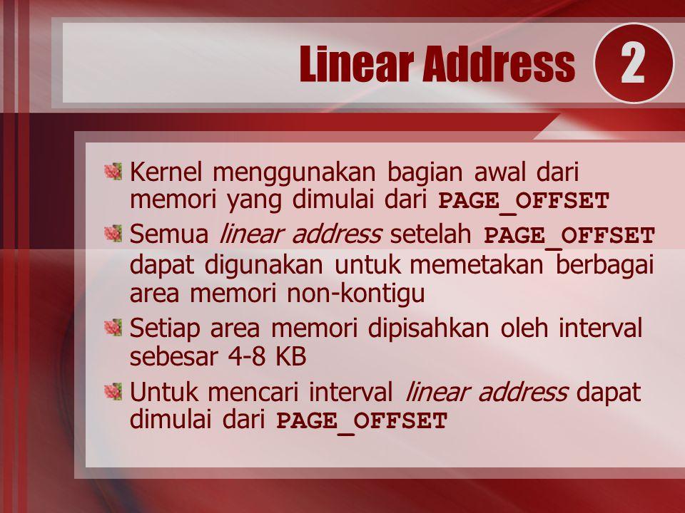 Kernel menggunakan bagian awal dari memori yang dimulai dari PAGE_OFFSET Semua linear address setelah PAGE_OFFSET dapat digunakan untuk memetakan berbagai area memori non-kontigu Setiap area memori dipisahkan oleh interval sebesar 4-8 KB Untuk mencari interval linear address dapat dimulai dari PAGE_OFFSET Linear Address 2