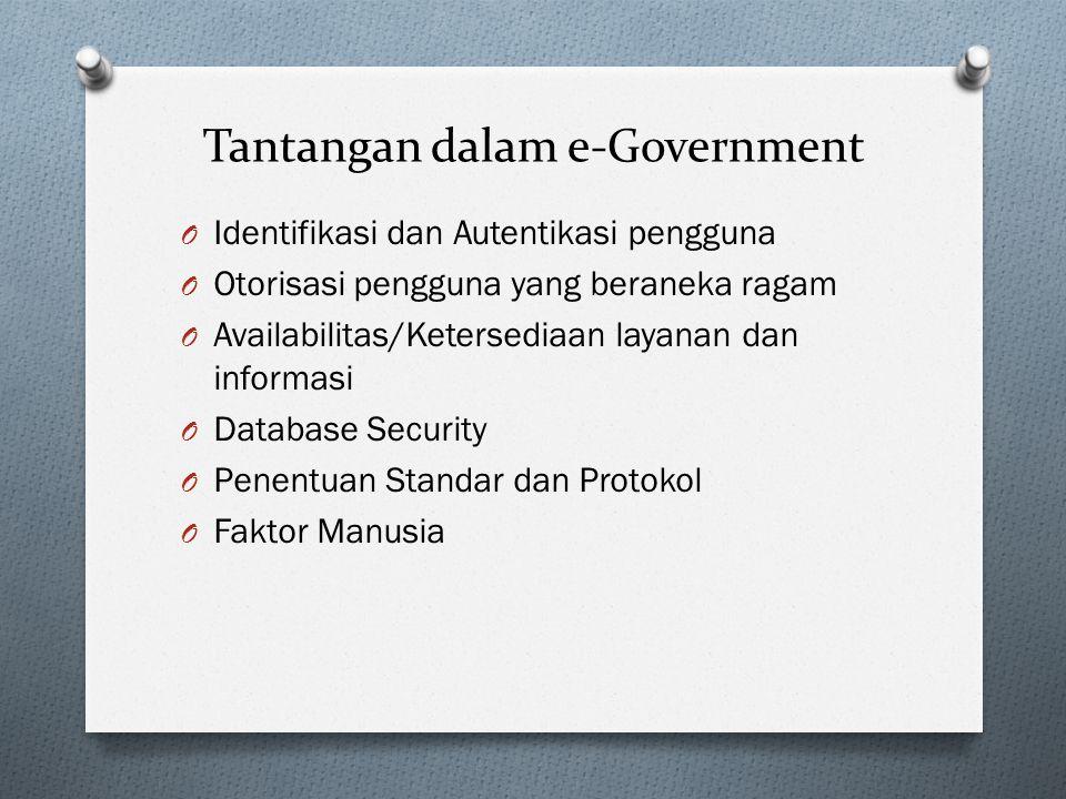 Tantangan dalam e-Government O Identifikasi dan Autentikasi pengguna O Otorisasi pengguna yang beraneka ragam O Availabilitas/Ketersediaan layanan dan