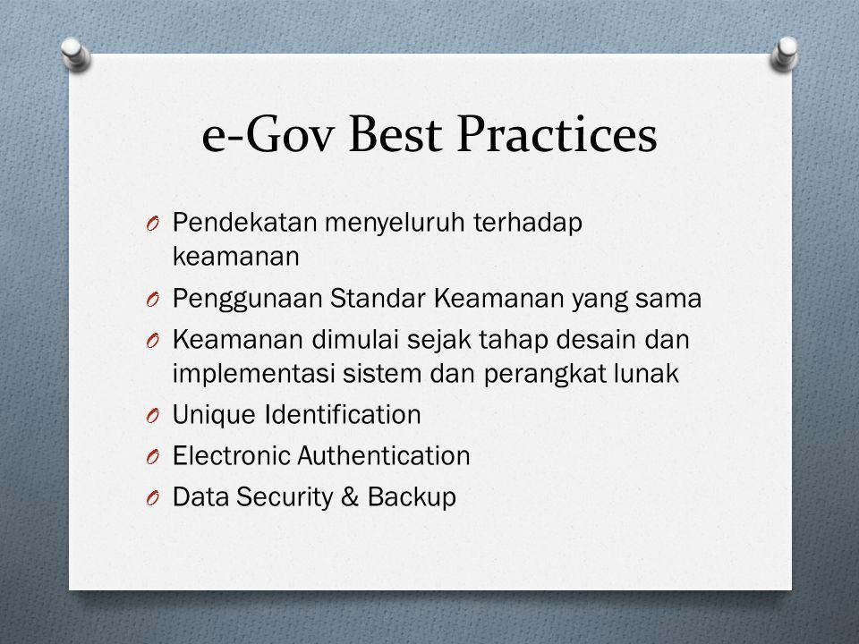 e-Gov Best Practices O Pendekatan menyeluruh terhadap keamanan O Penggunaan Standar Keamanan yang sama O Keamanan dimulai sejak tahap desain dan imple