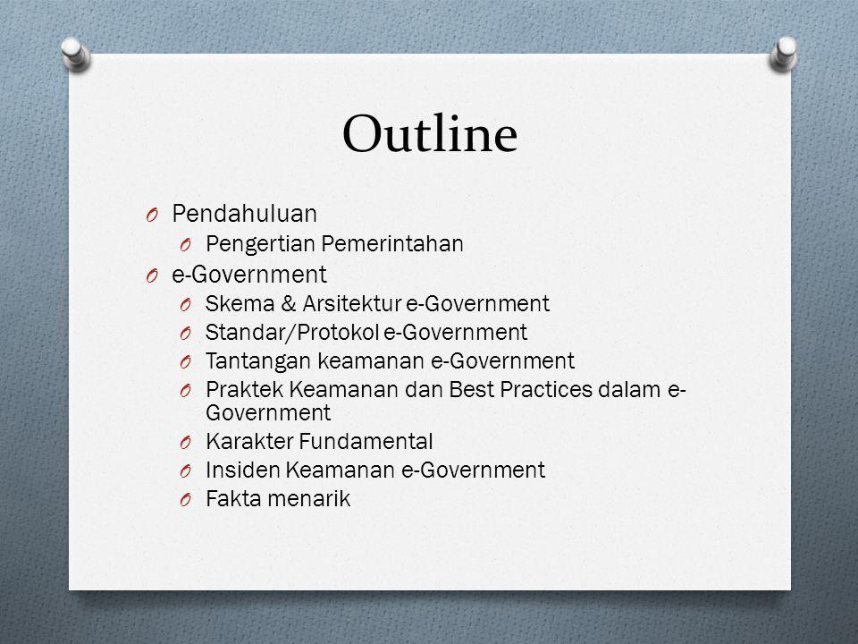 Outline O Pendahuluan O Pengertian Pemerintahan O e-Government O Skema & Arsitektur e-Government O Standar/Protokol e-Government O Tantangan keamanan