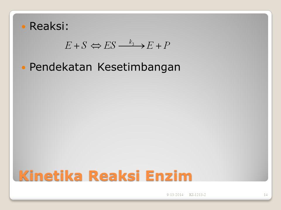 Kinetika Reaksi Enzim Reaksi: Pendekatan Kesetimbangan 9/13/2014KI-1213-214