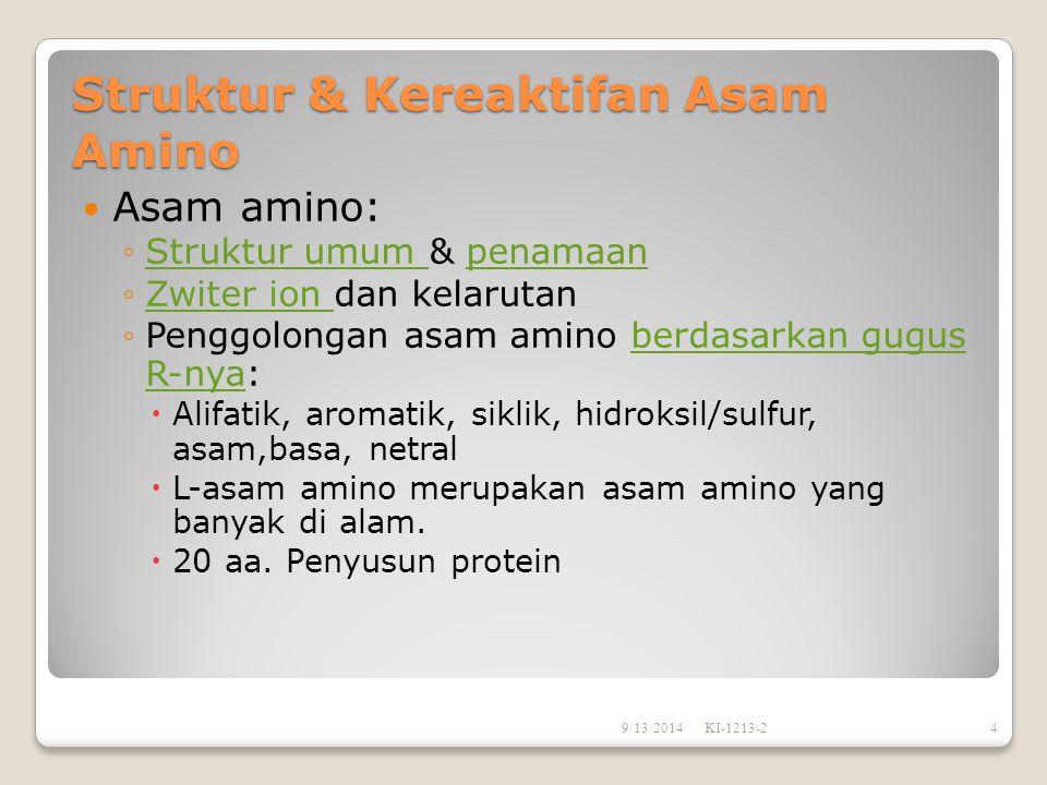 Struktur & Kereaktifan Asam Amino Asam amino: ◦Struktur umum & penamaanStruktur umum penamaan ◦Zwiter ion dan kelarutanZwiter ion ◦Penggolongan asam a
