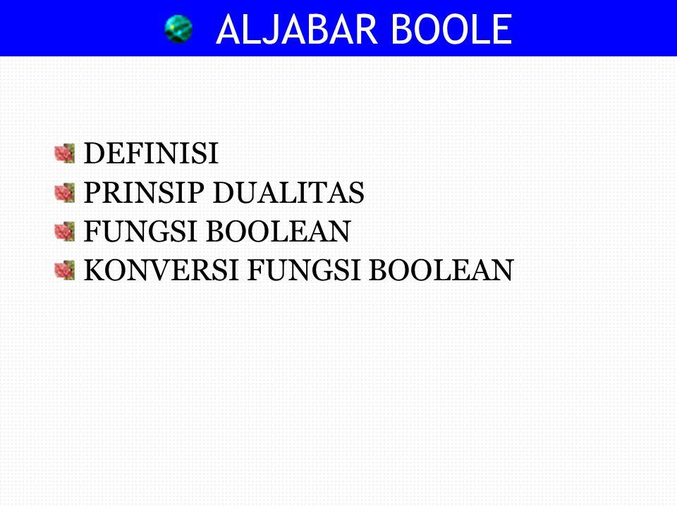 DEFINISI ALJABAR BOOLE Sistem aljabar dengan dua operasi penjumlahan (+) dan perkalian (.) yang didefinisikan sehingga memenuhi ketentuan berikut ini : aturan A1 sampai dengan A5, M1 sampai M3, M5, D1, dan D2, setiap elemen a, b, c dari S mempunyai sifat- sifat atau aksioma-aksioma berikut ini : 2
