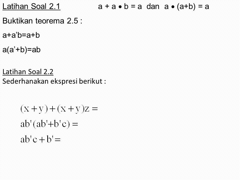 Latihan Soal 2.1 Buktikan teorema 2.5 : a+a'b=a+b a(a'+b)=ab Latihan Soal 2.2 Sederhanakan ekspresi berikut : a + a  b = a dan a  (a+b) = a
