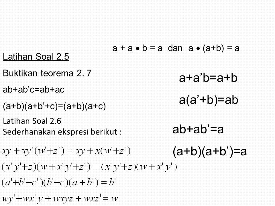 Latihan Soal 2.5 Buktikan teorema 2. 7 ab+ab'c=ab+ac (a+b)(a+b'+c)=(a+b)(a+c) Latihan Soal 2.6 Sederhanakan ekspresi berikut : a + a  b = a dan a  (