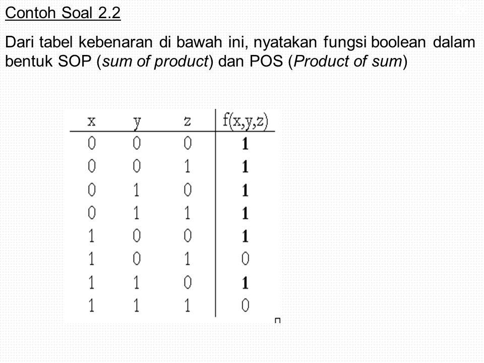 26 Contoh Soal 2.2 Dari tabel kebenaran di bawah ini, nyatakan fungsi boolean dalam bentuk SOP (sum of product) dan POS (Product of sum)