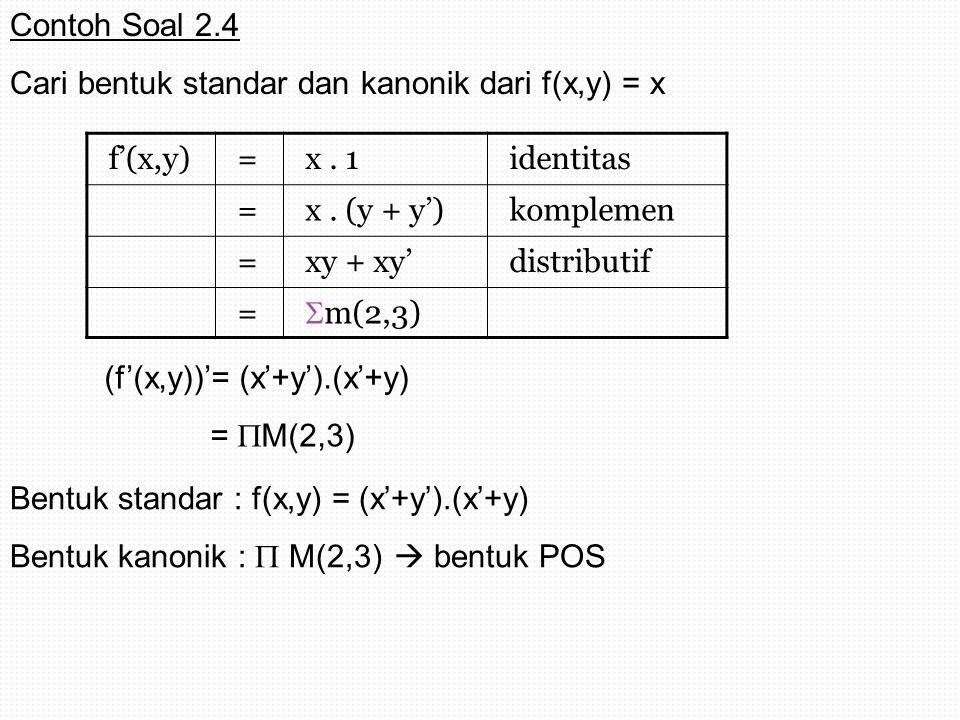 f'(x,y)=x. 1identitas =x. (y + y')komplemen =xy + xy'distributif =  m(2,3) (f'(x,y))'= (x'+y').(x'+y) =  M(2,3) Bentuk standar : f(x,y) = (x'+y').(x