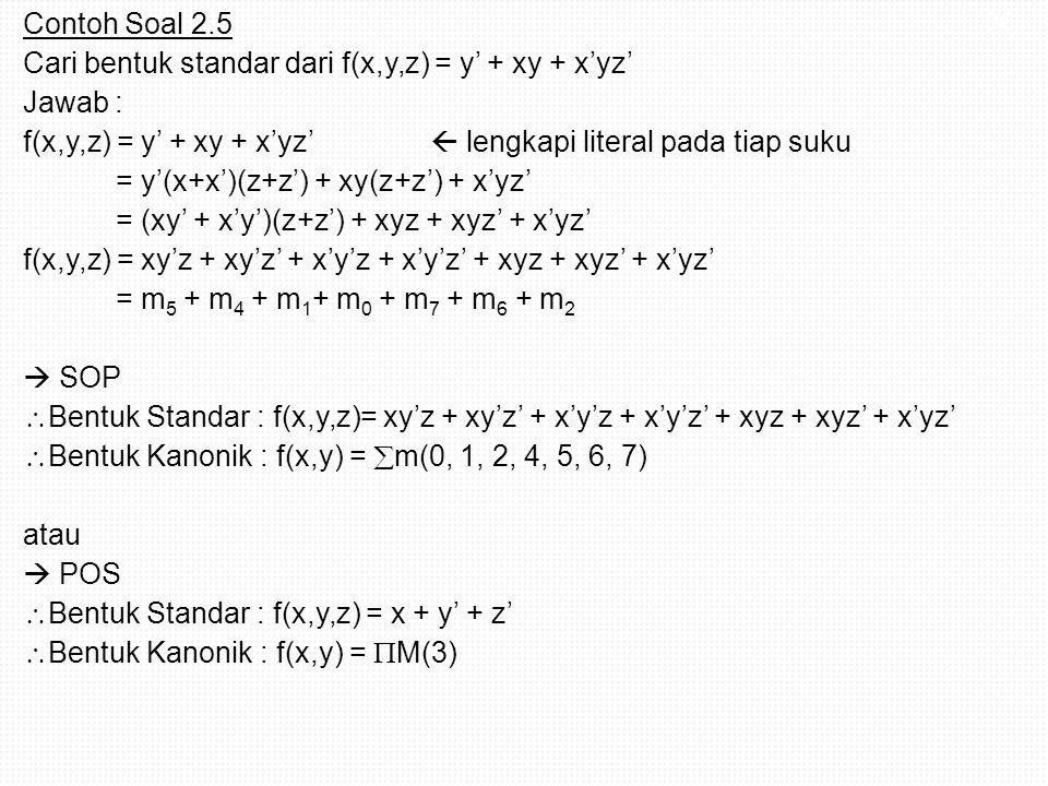 Contoh Soal 2.5 Cari bentuk standar dari f(x,y,z) = y' + xy + x'yz' Jawab : f(x,y,z) = y' + xy + x'yz'  lengkapi literal pada tiap suku = y'(x+x')(z+