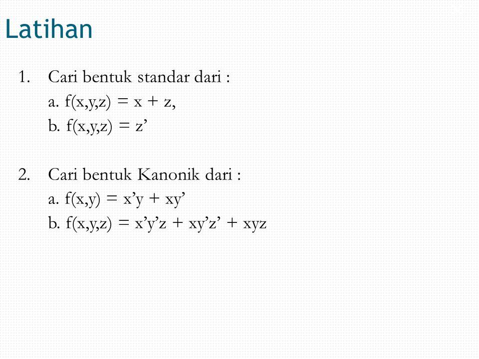 Latihan 1.Cari bentuk standar dari : a. f(x,y,z) = x + z, b.f(x,y,z) = z' 2.Cari bentuk Kanonik dari : a. f(x,y) = x'y + xy' b. f(x,y,z) = x'y'z + xy'