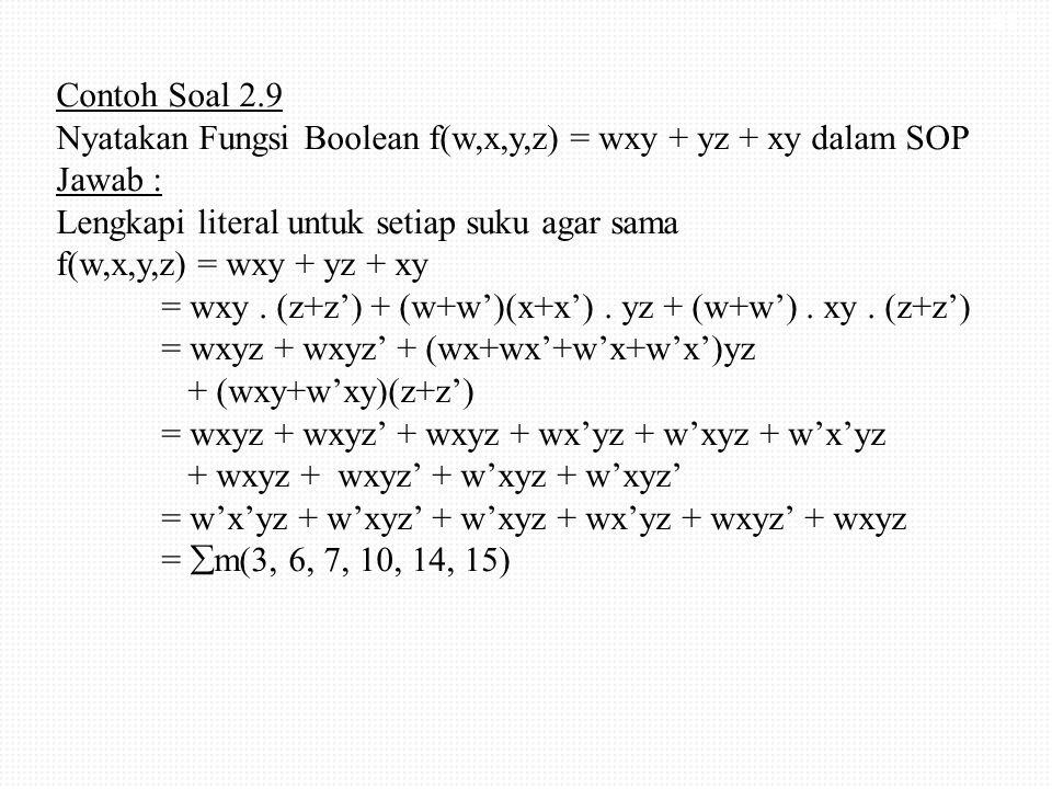 Contoh Soal 2.9 Nyatakan Fungsi Boolean f(w,x,y,z) = wxy + yz + xy dalam SOP Jawab : Lengkapi literal untuk setiap suku agar sama f(w,x,y,z) = wxy + y