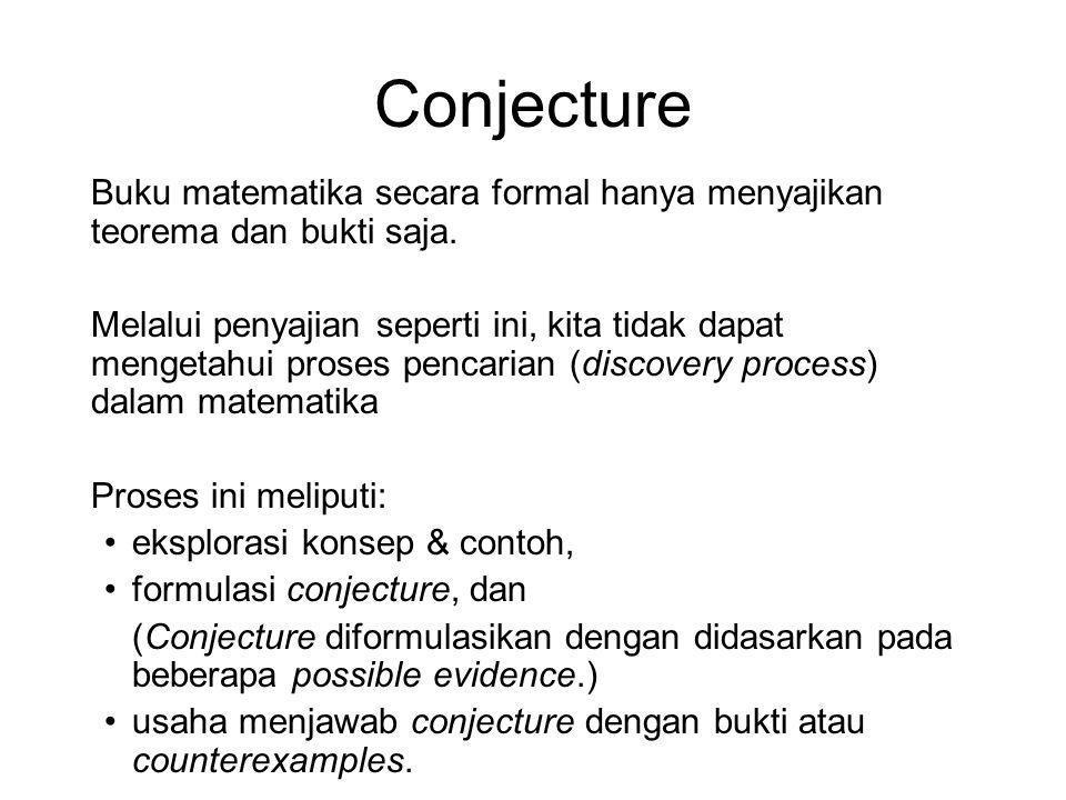 Conjecture Buku matematika secara formal hanya menyajikan teorema dan bukti saja.