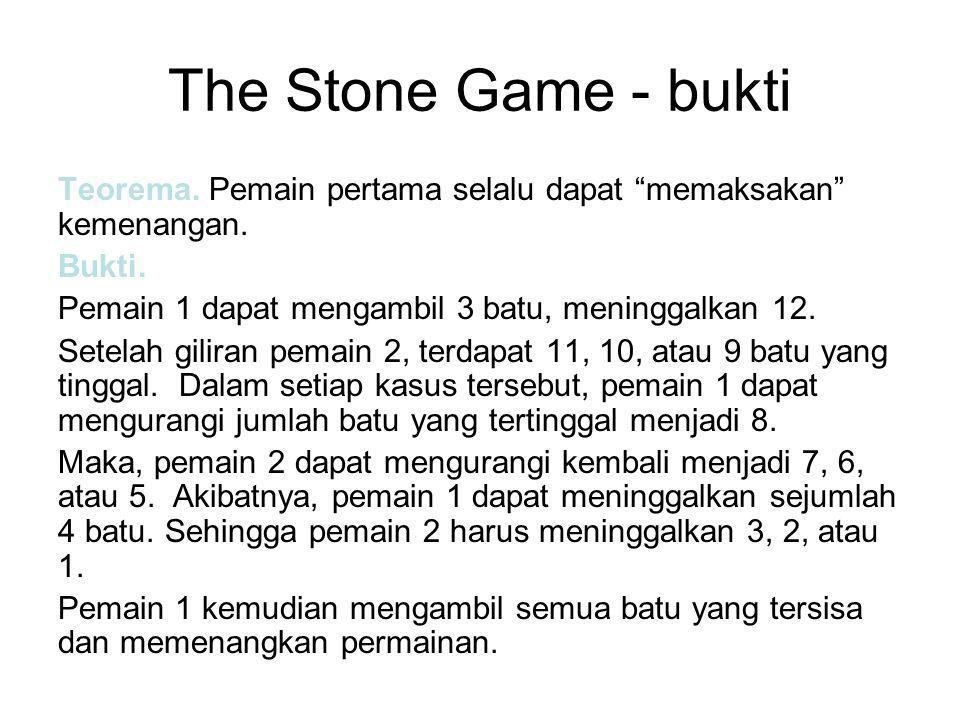 The Stone Game - bukti Teorema. Pemain pertama selalu dapat memaksakan kemenangan.