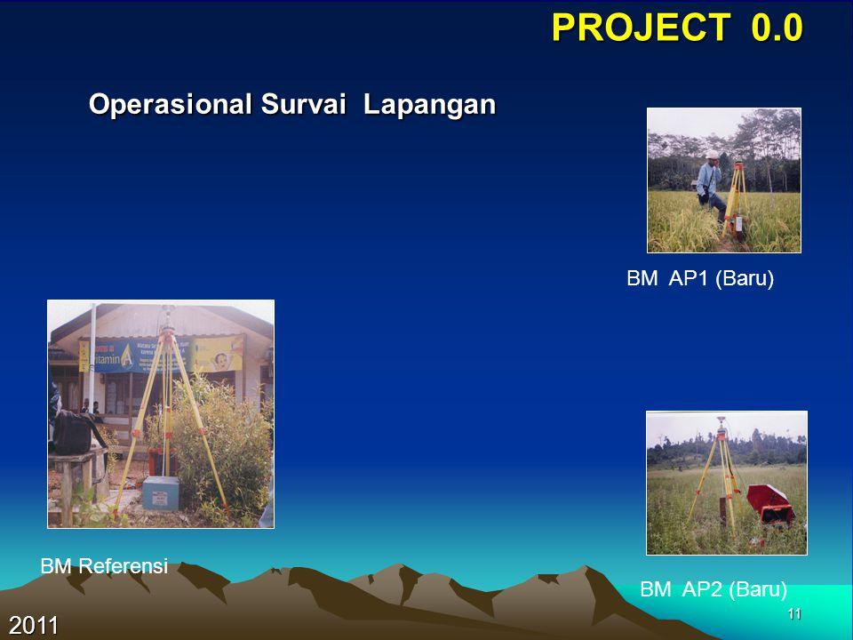 11 PROJECT 0.0 Operasional Survai Lapangan Operasional Survai Lapangan 2011 BM Referensi BM AP1 (Baru) BM AP2 (Baru)