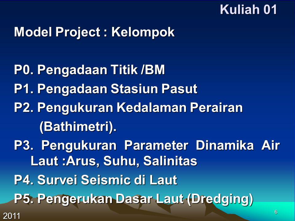 6 Kuliah 01 Model Project : Kelompok P0. Pengadaan Titik /BM P1. Pengadaan Stasiun Pasut P2. Pengukuran Kedalaman Perairan (Bathimetri). (Bathimetri).