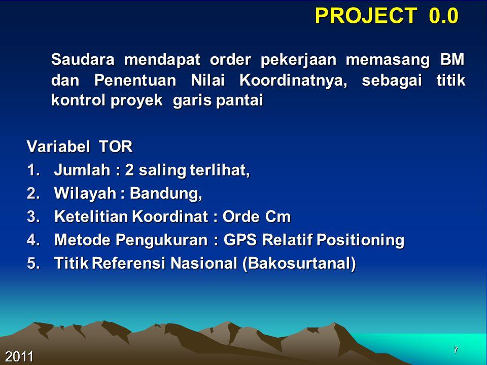 7 PROJECT 0.0 Saudara mendapat order pekerjaan memasang BM dan Penentuan Nilai Koordinatnya, sebagai titik kontrol proyek garis pantai Saudara mendapa