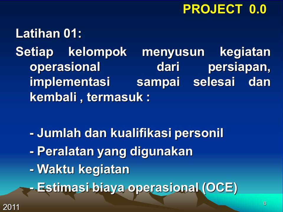 9 PROJECT 0.0 2011 NoKegiatanJumlahK.KerjaDurasi 1Persiapan LS 2Pasang BM1 3Pengukuran GPS 4Pengolahan Data 5Report Pengadaan 2 (dua) Titik Kontrol (BM) Di Perumahan Adipura Kota Bandung 0.1 Identifikasi Kegiatan dan Kapasitas Kerja