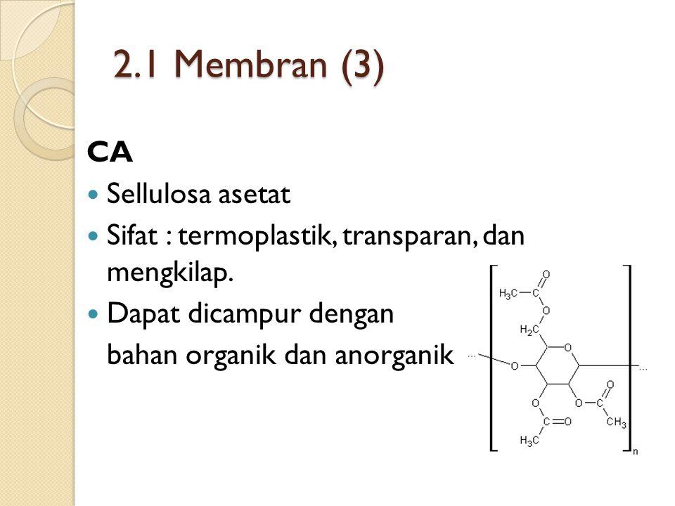 2.1 Membran (3) CA Sellulosa asetat Sifat : termoplastik, transparan, dan mengkilap.