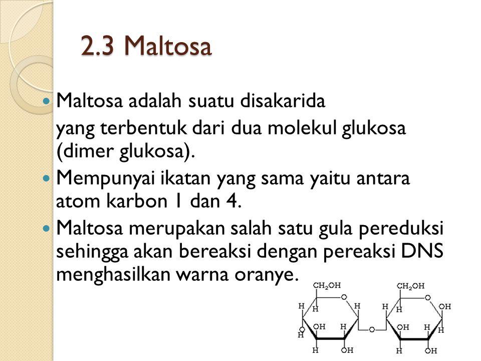 2.3 Maltosa Maltosa adalah suatu disakarida yang terbentuk dari dua molekul glukosa (dimer glukosa).