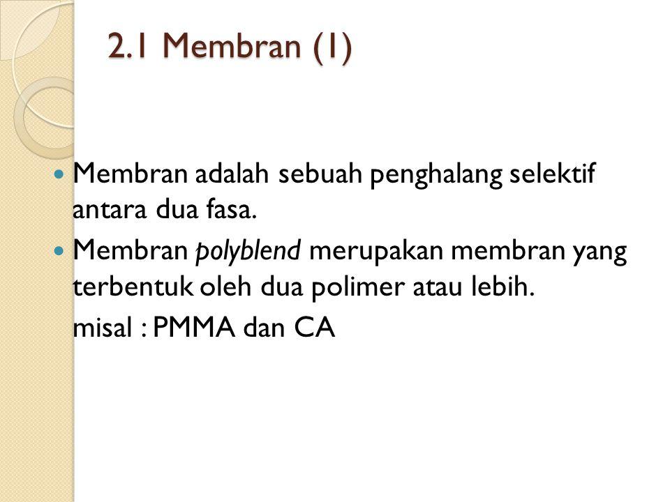 2.1 Membran (1) Membran adalah sebuah penghalang selektif antara dua fasa.