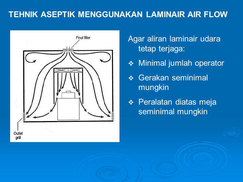 TEHNIK ASEPTIK MENGGUNAKAN LAMINAIR AIR FLOW Agar aliran laminair udara tetap terjaga:  Minimal jumlah operator  Gerakan seminimal mungkin  Peralat