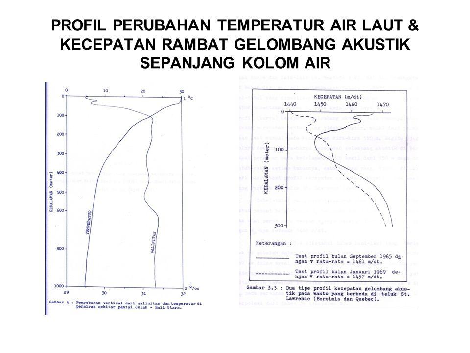 PROFIL PERUBAHAN TEMPERATUR AIR LAUT & KECEPATAN RAMBAT GELOMBANG AKUSTIK SEPANJANG KOLOM AIR