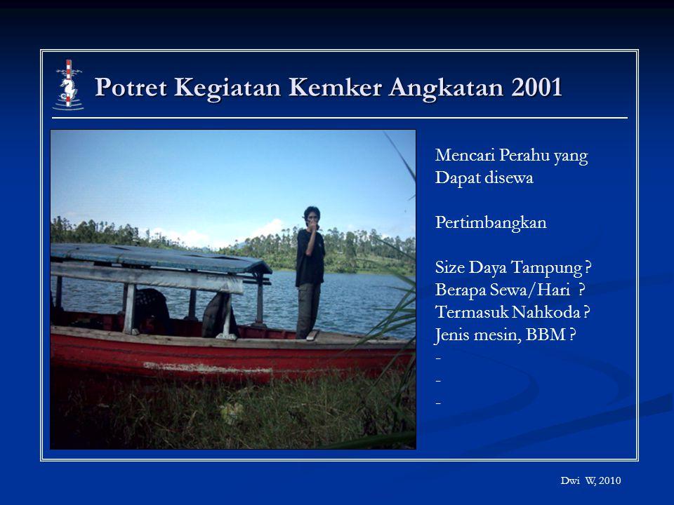 Potret Kegiatan Kemker Angkatan 2001 Dwi W, 2010 Mencari Perahu yang Dapat disewa Pertimbangkan Size Daya Tampung ? Berapa Sewa/Hari ? Termasuk Nahkod