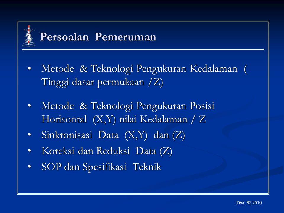 Persoalan Pemeruman Metode & Teknologi Pengukuran Kedalaman ( Tinggi dasar permukaan /Z)Metode & Teknologi Pengukuran Kedalaman ( Tinggi dasar permuka