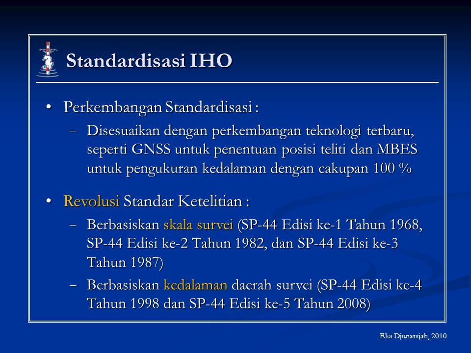 Standardisasi IHO Perkembangan Standardisasi :Perkembangan Standardisasi : − Disesuaikan dengan perkembangan teknologi terbaru, seperti GNSS untuk pen
