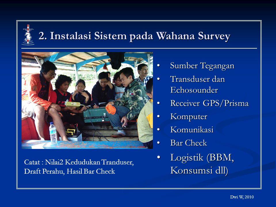 2. Instalasi Sistem pada Wahana Survey Sumber TeganganSumber Tegangan Transduser dan EchosounderTransduser dan Echosounder Receiver GPS/PrismaReceiver