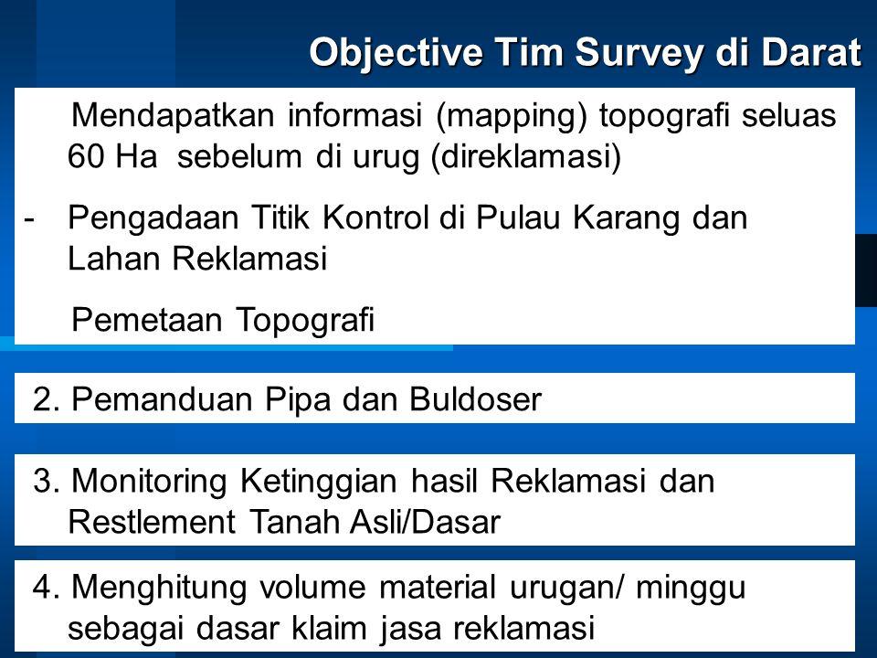 Objective Tim Survey di Darat 1. Mendapatkan informasi (mapping) topografi seluas 60 Ha sebelum di urug (direklamasi) -Pengadaan Titik Kontrol di Pula