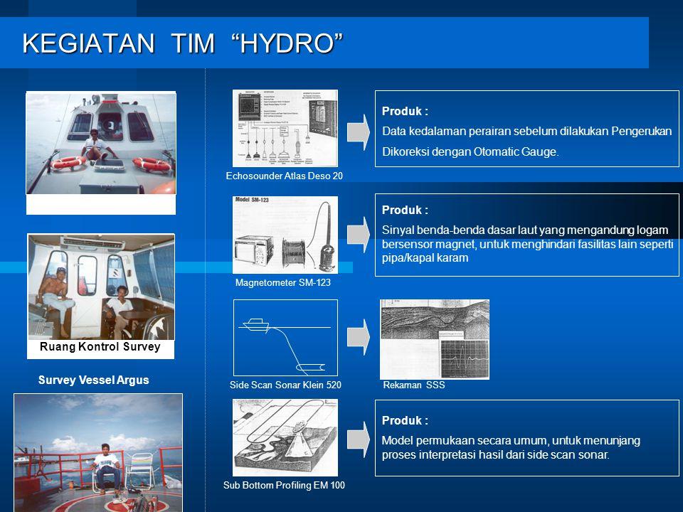 KEGIATAN TIM HYDRO KEGIATAN TIM HYDRO Ruang Kontrol Survey Survey Vessel Argus Produk : Data kedalaman perairan sebelum dilakukan Pengerukan Dikoreksi dengan Otomatic Gauge.