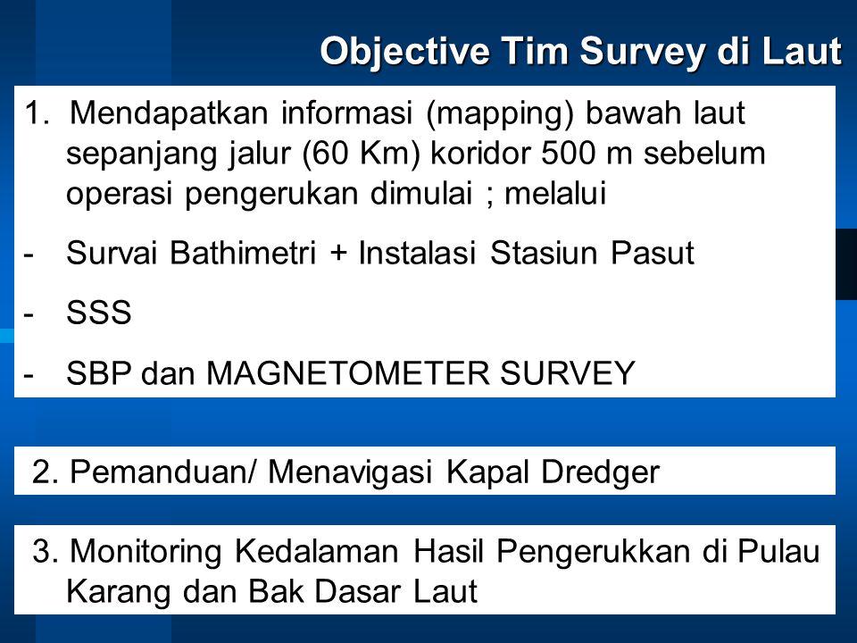 Objective Tim Survey di Laut 1. Mendapatkan informasi (mapping) bawah laut sepanjang jalur (60 Km) koridor 500 m sebelum operasi pengerukan dimulai ;