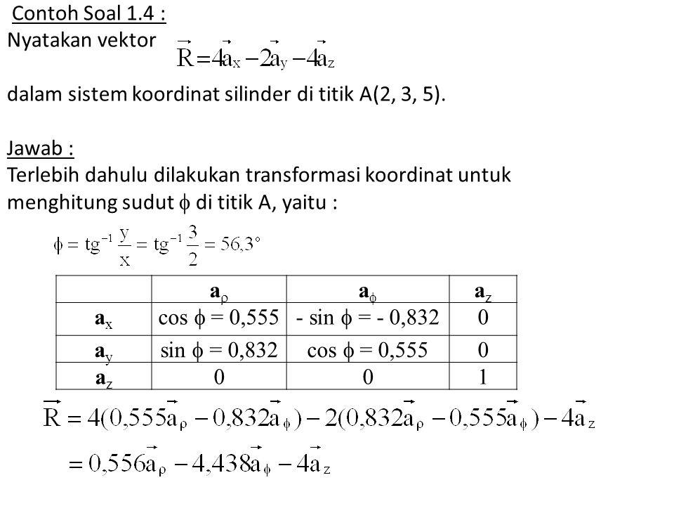 Contoh Soal 1.4 : Nyatakan vektor dalam sistem koordinat silinder di titik A(2, 3, 5). Jawab : Terlebih dahulu dilakukan transformasi koordinat untuk