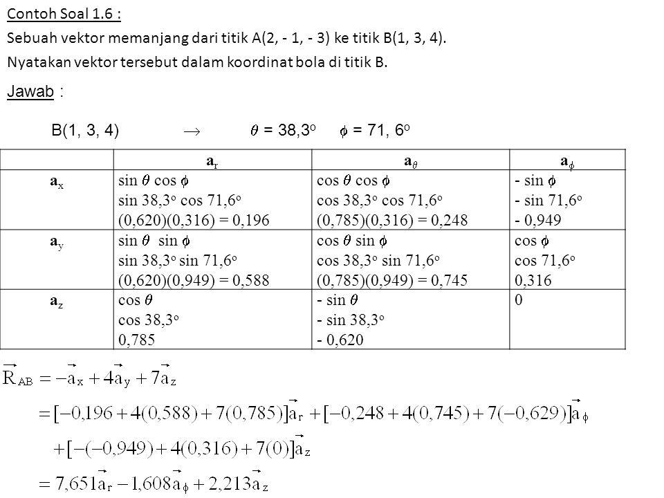 Contoh Soal 1.6 : Sebuah vektor memanjang dari titik A(2, - 1, - 3) ke titik B(1, 3, 4). Nyatakan vektor tersebut dalam koordinat bola di titik B. Jaw