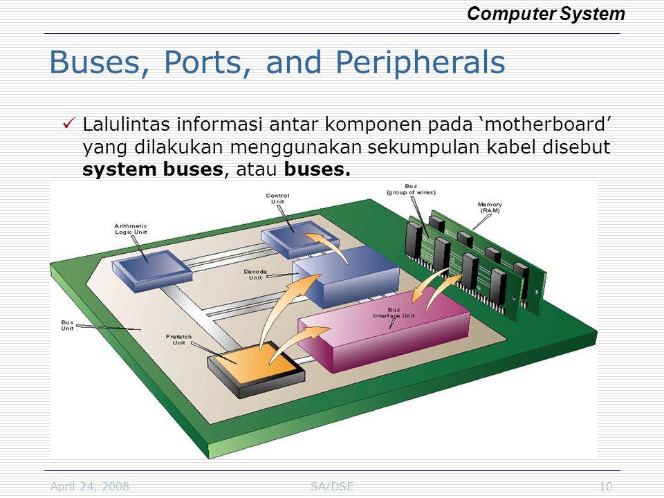April 24, 2008SA/DSE10 Lalulintas informasi antar komponen pada 'motherboard' yang dilakukan menggunakan sekumpulan kabel disebut system buses, atau b