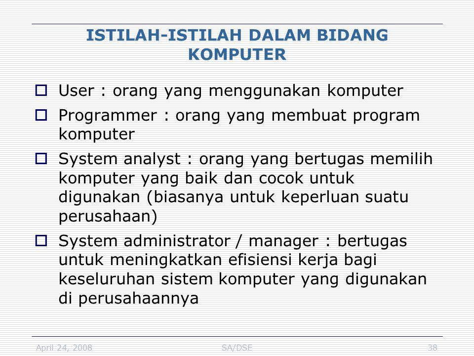April 24, 2008SA/DSE38 ISTILAH-ISTILAH DALAM BIDANG KOMPUTER  User : orang yang menggunakan komputer  Programmer : orang yang membuat program komput