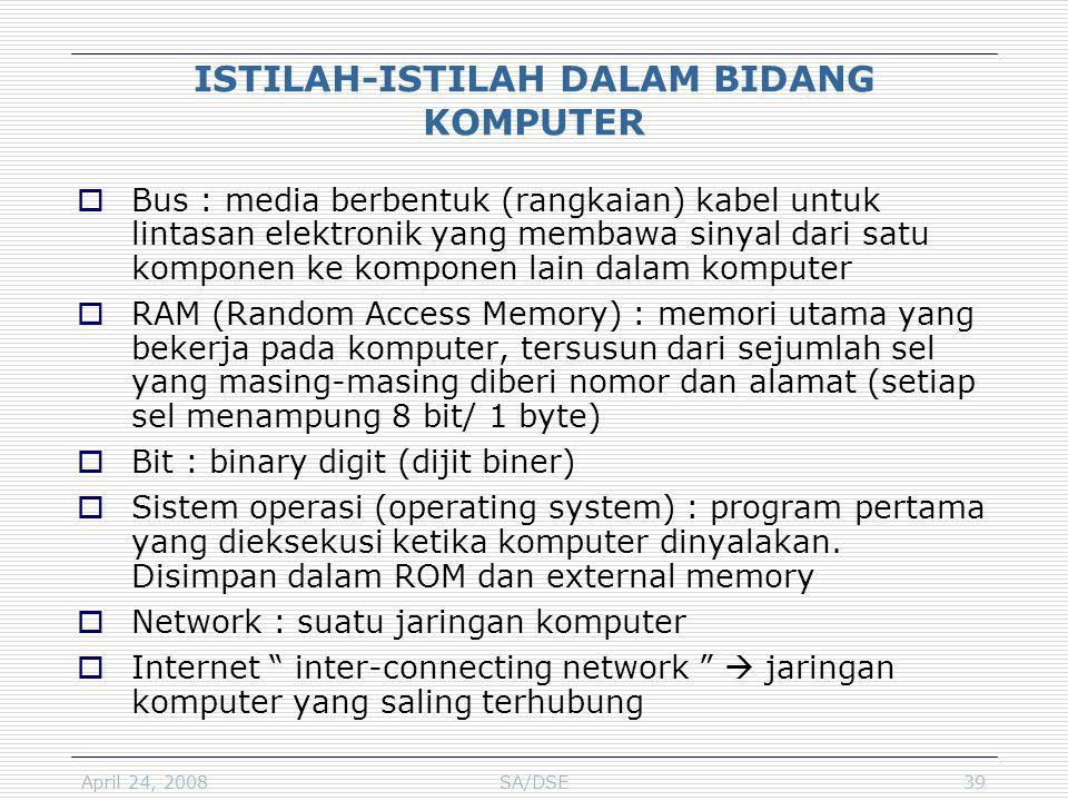 April 24, 2008SA/DSE39 ISTILAH-ISTILAH DALAM BIDANG KOMPUTER  Bus : media berbentuk (rangkaian) kabel untuk lintasan elektronik yang membawa sinyal d