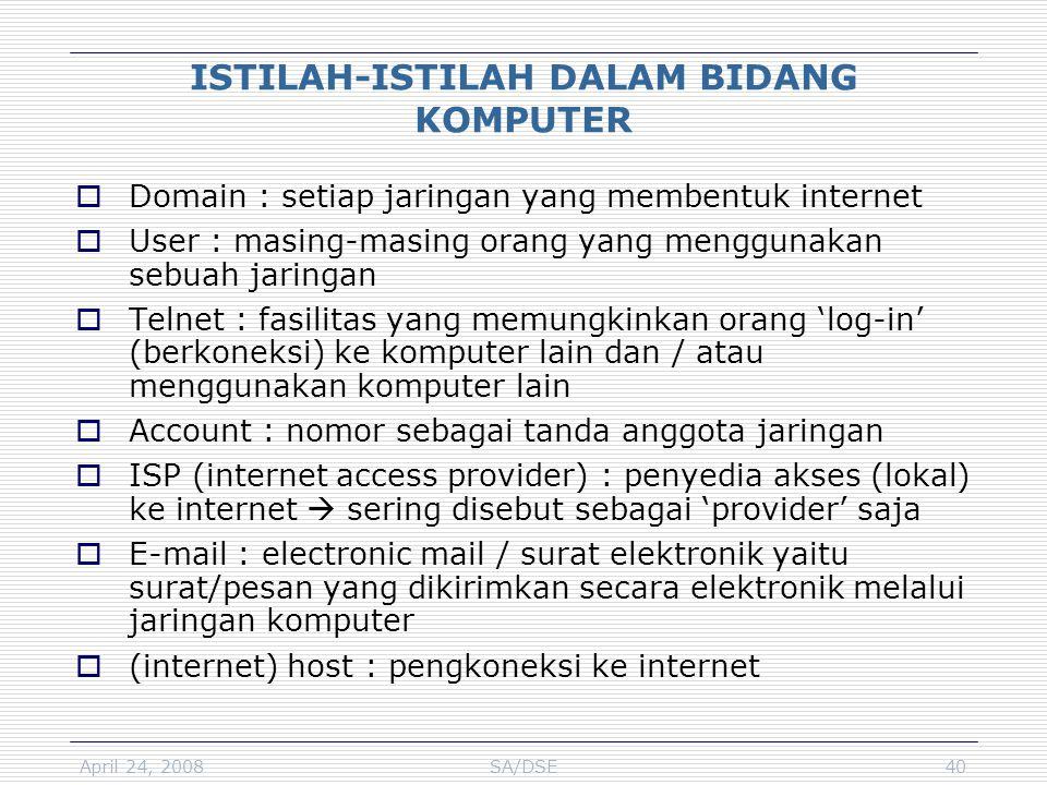 April 24, 2008SA/DSE40 ISTILAH-ISTILAH DALAM BIDANG KOMPUTER  Domain : setiap jaringan yang membentuk internet  User : masing-masing orang yang meng