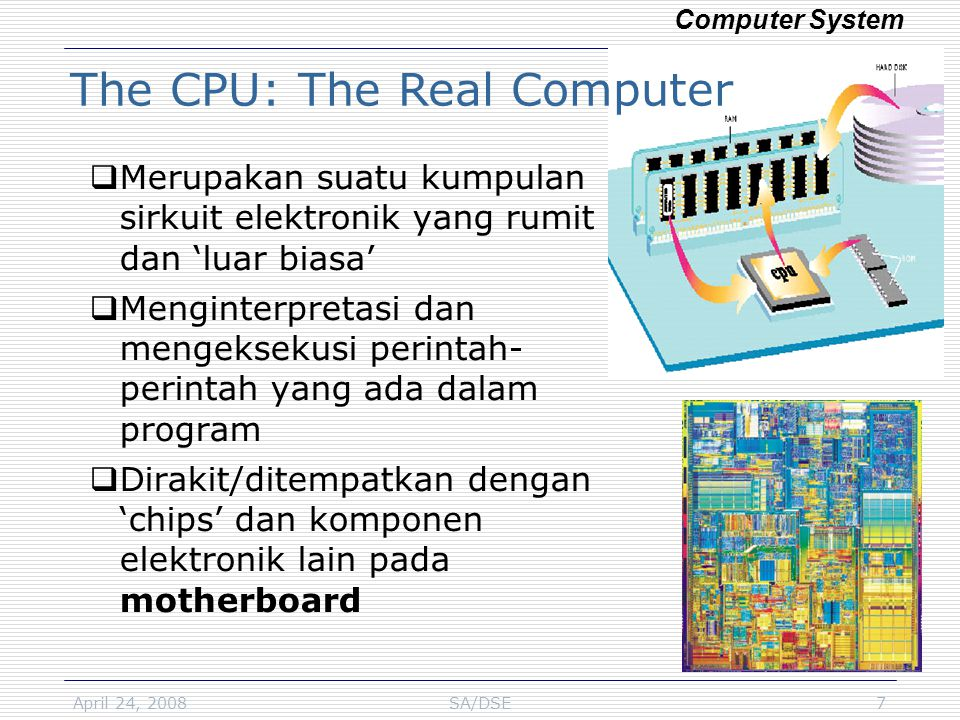 April 24, 2008SA/DSE28 Components of Computer Network Computer Network & Internet  Cable: UTP, coaxial  Fiber optic  NIC (network interface card), Modem (modulator/demodulator)  Router  Server: File Server, Web Server, Email Server  Client  Protocol: TCP/IP (Transmission Control protocol/ Internet Protocol),FTP (file transfer protocol), HTTP (hypertext transfer protocol)  NOS (network operating system)