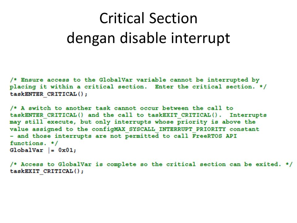 Critical Section dengan disable interrupt