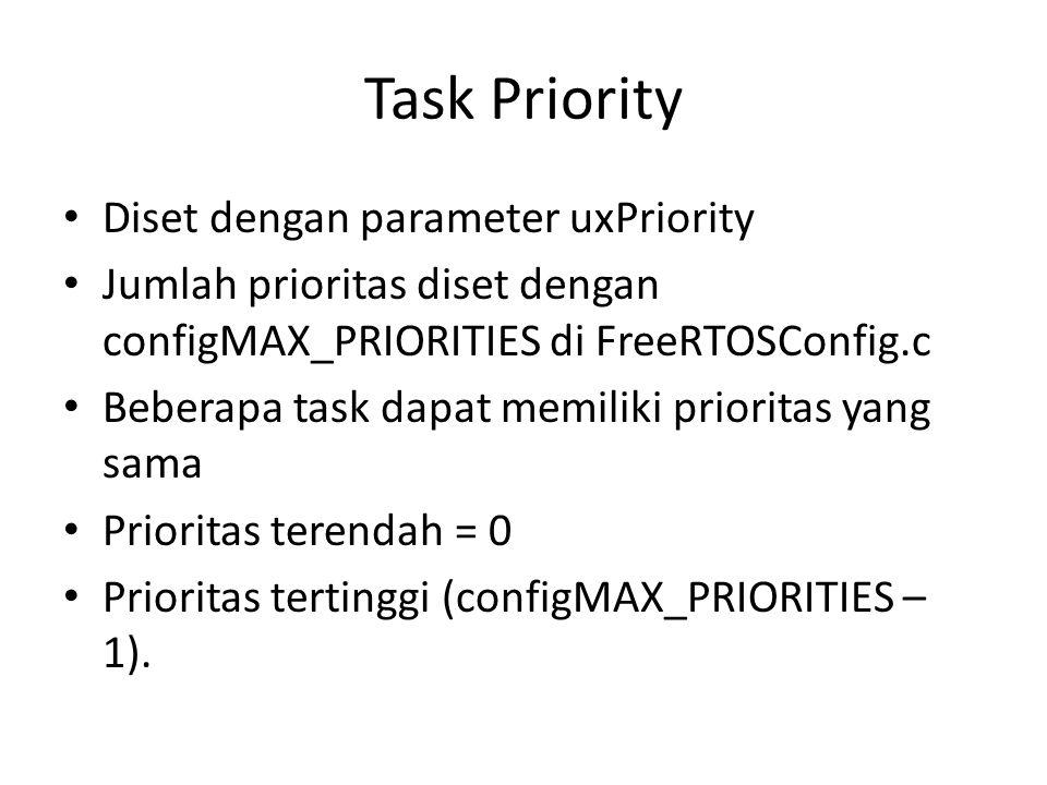 Task Priority Diset dengan parameter uxPriority Jumlah prioritas diset dengan configMAX_PRIORITIES di FreeRTOSConfig.c Beberapa task dapat memiliki pr
