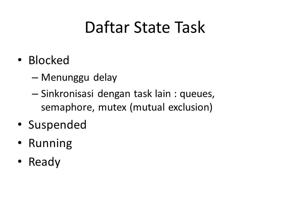 Blocked – Menunggu delay – Sinkronisasi dengan task lain : queues, semaphore, mutex (mutual exclusion) Suspended Running Ready